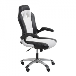 Racer Executive Office Chair with Folding Arms Black-White