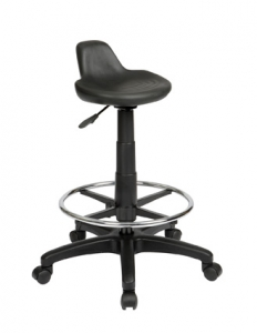 Technician Lip Seat Black Drafting Stool with Footring