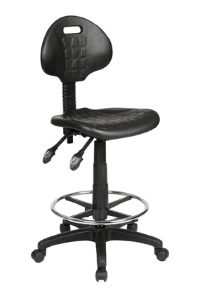 Industrial Ergonomic Black Drafting Stool