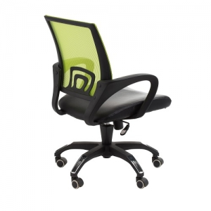 View Designer Task Office Chair with Green Mesh Back and Padded Bonded Leather Seat