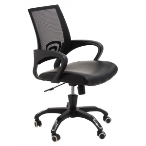 View Modern Task Office Chair with Black Mesh Back and Padded Bonded Leather Seat