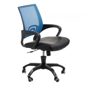 View Modern Task Office Chair with Blue Mesh Back and Padded Bonded Leather Seat