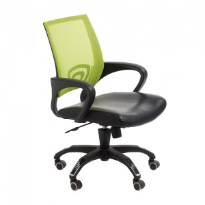 View Modern Task Office Chair with Green Mesh Back and Padded Bonded Leather Seat