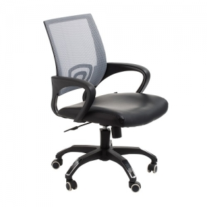 View Modern Task Office Chair with Grey Mesh Back and Padded Bonded Leather Seat