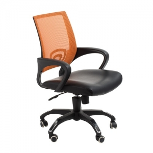 View Modern Task Office Chair with Orange Mesh Back and Padded Bonded Leather Seat
