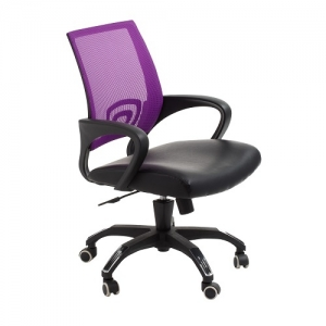 View Modern Task Office Chair with Purple Mesh Back and Padded Bonded Leather Seat