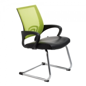 View Visitors Chair Green Mesh Back with Padded Bonded Leather