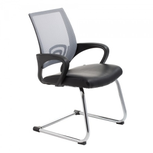 View Visitors Chair Grey Mesh Back with Padded Bonded Leather