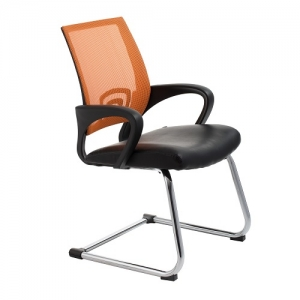 View Visitors Chair Orange Mesh Back with Padded Bonded Leather
