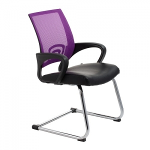 View Visitors Chair Purple Mesh Back with Padded Bonded Leather