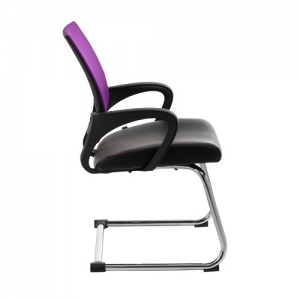 View Visitors Purple Mesh Back Chair Cantilever Base