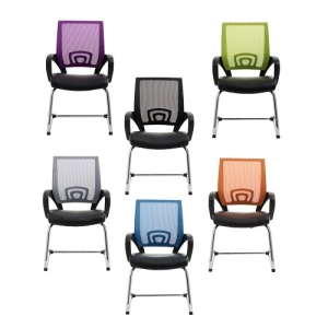 View Visitors Chair Coloured Mesh Back with Padded Bonded Leather Seat