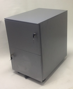 Aus Steel Mobile Pedestal 2 File Drawers Silver Grey