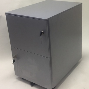 Aus Steel Mobile Pedestal 2 File Drawers Silver Grey