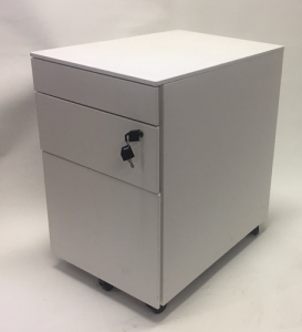 Aus Steel Mobile Pedestal 3 Drawers White