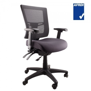 Madrid AFRDI Approved Fully Ergonomic Mesh Back Padded Fabric Seat Chair with Arms Black