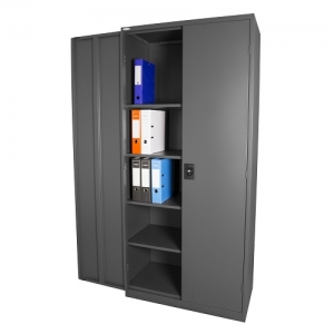 Steelco Stationery Storage Cabinet 2000H x 914W x 465D - Graphite open