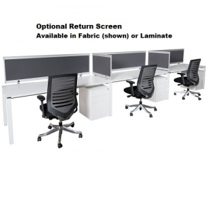 Runway Bench Style Workstation 3 person with optional Return Screens