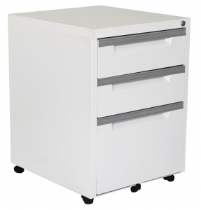 Steelco Classic 3 Drawer Mobile Pedestal White Satin