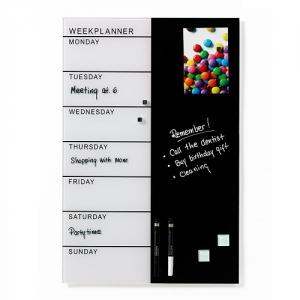Naga Magnetic Black White Glass Board Week Planner