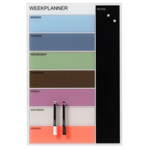 Naga Magnetic Coloured Glassboard Week Planner