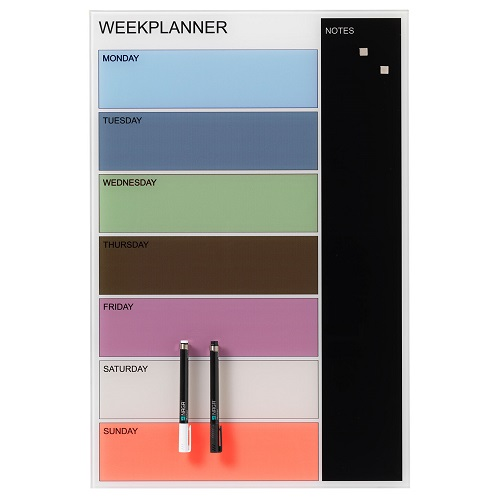 Naga Magnetic Coloured Glassboard Weekly Planner