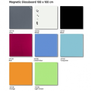 Naga Magnetic Glass Board 1000 x 1000 colours