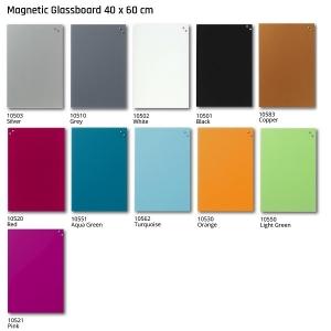 Naga Magnetic Glass Board 400 x 600 colours
