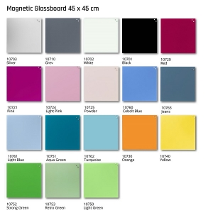 Naga Magnetic Glass Board 450 x 450 colours