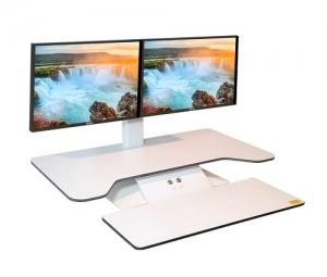 Standesk Pro 2 Monitor Sit Stand with Keyboard White