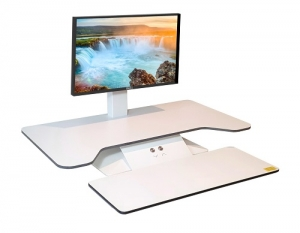 Standesk Pro Single Monitor Sit Stand with Keyboard White