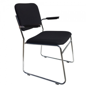 ED Black Fabric Sled Base Visitors Chair with Arms