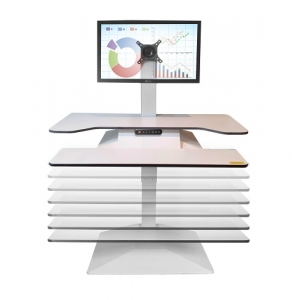 Standesk Pro Memory with Keyboard Sit Stand White Single Monitor