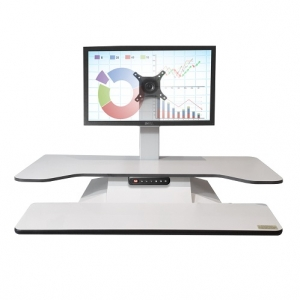 Standesk Pro Memory with Keyboard White Single Monitor
