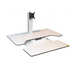 Standesk Pro Memory with Keyboard White Single Monitor bracket