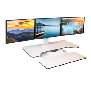 Standesk Pro Memory with Keyboard White 3 Monitor