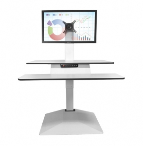Standesk Memory with Keyboard Sit Stand White Single Monitor