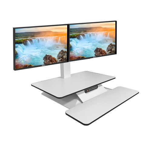 Standesk Memory with Keyboard White Double Monitor