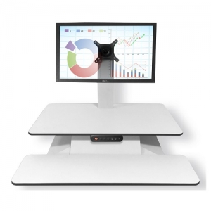 Standesk Memory with Keyboard White Single Monitor