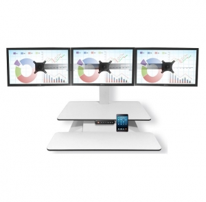 Standesk Memory with Keyboard White 3 Monitor Bracket