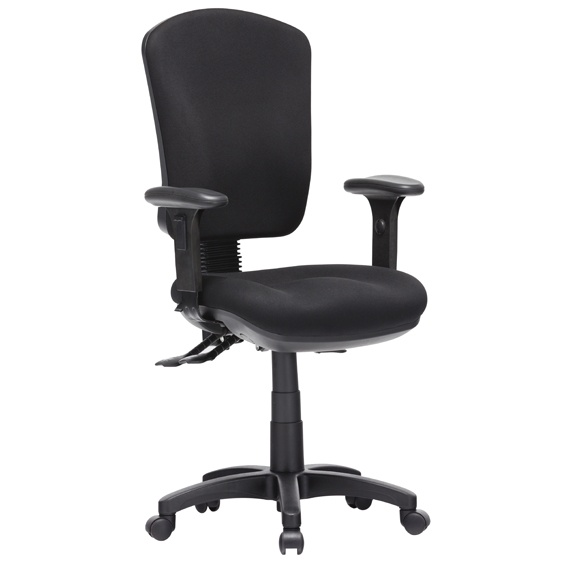 Aqua High Back 3 Lever Ergonomic Black Task Chair with Arms