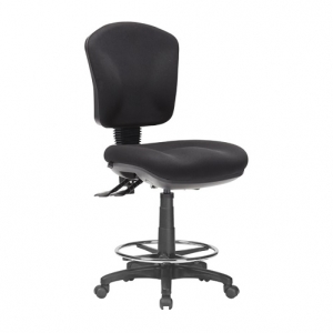 Aqua Medium Back 3 Lever Ergonomic Drafting Chair Black