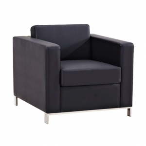 Plaza One Seater Black Leather Lounge