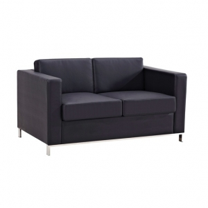 Plaza Two Seater Black Leather Lounge