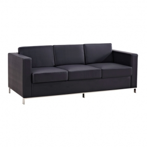 Plaza Three Seater Black Leather Lounge