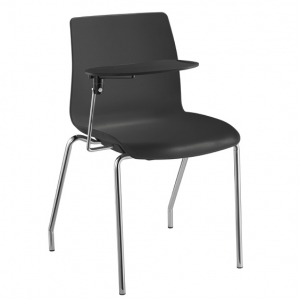 Pod Poly 4 Leg Visitors Meeting Chair Black with Tablet Arm