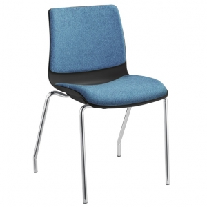 Pod Poly Fabric 4 Leg Visitors Meeting Chair Black