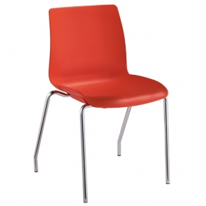 Pod Poly 4 Leg Visitors Meeting Chair Red