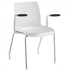 Pod Poly 4 Leg Visitors Meeting Chair with Arms White