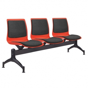 Pod Poly Fabric Beam 3 Seater Red Shell